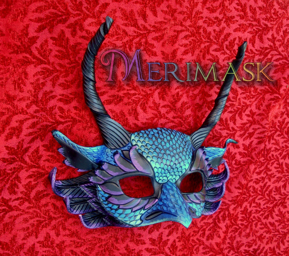 Feathered Basilisk Leather Dragon Mask #3 by merimask