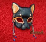 Lapis Scarab Bast leather mask