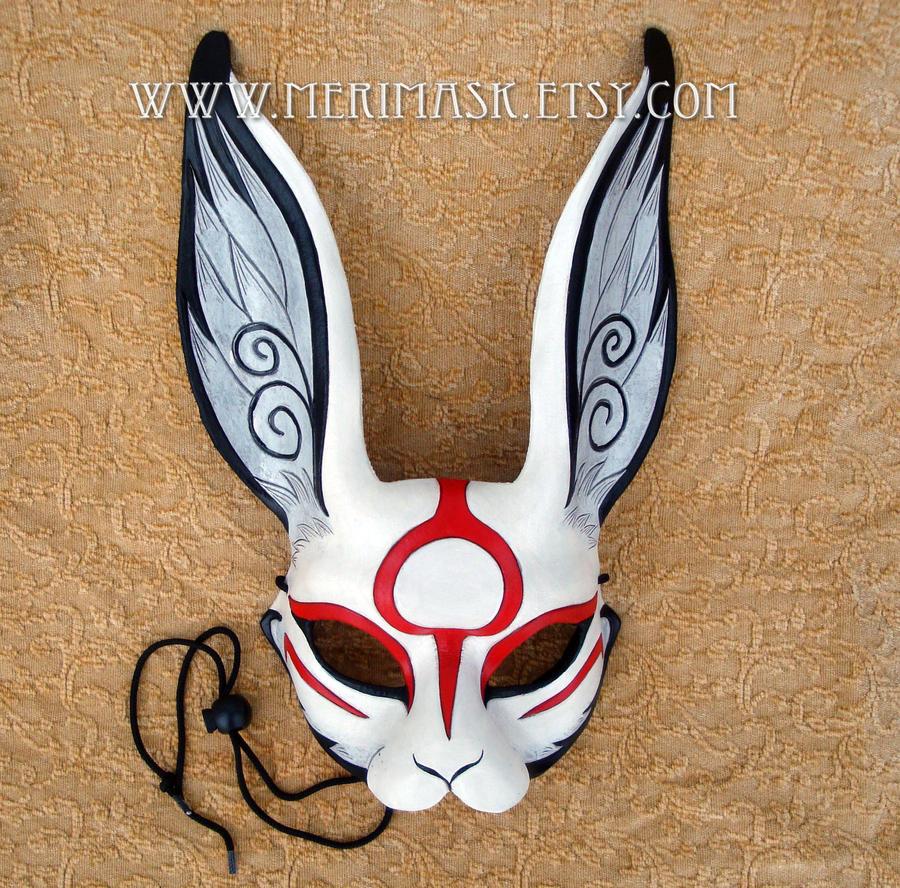 Japanese Sumi-e leather rabbit mask by merimask on DeviantArt