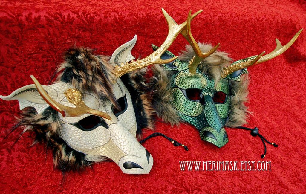 Locked Horns...frilled eastern dragon masks by merimask