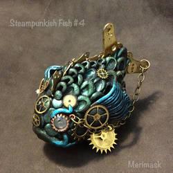 Steampunk fish sculpture