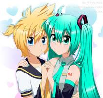 Len and Miku by AriaMikuKanzaki