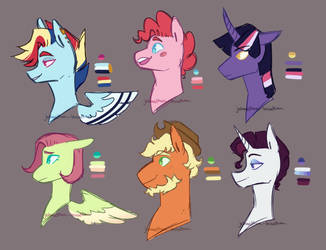Mane Six Boys by Minnobyy