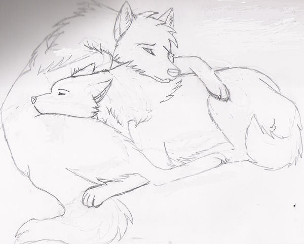 Wolf cuddle by LoneWolfTori