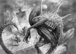 Alien drawing. My composition. Oldie