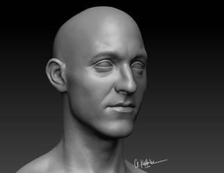 Guy head scuplture
