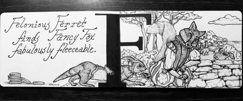 The Letter F: Felonious Ferret, Inktober 7