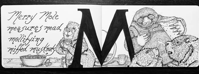 The Letter M:  Merry Mole, Inktober 14