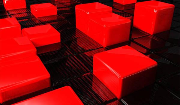 3D red cubes