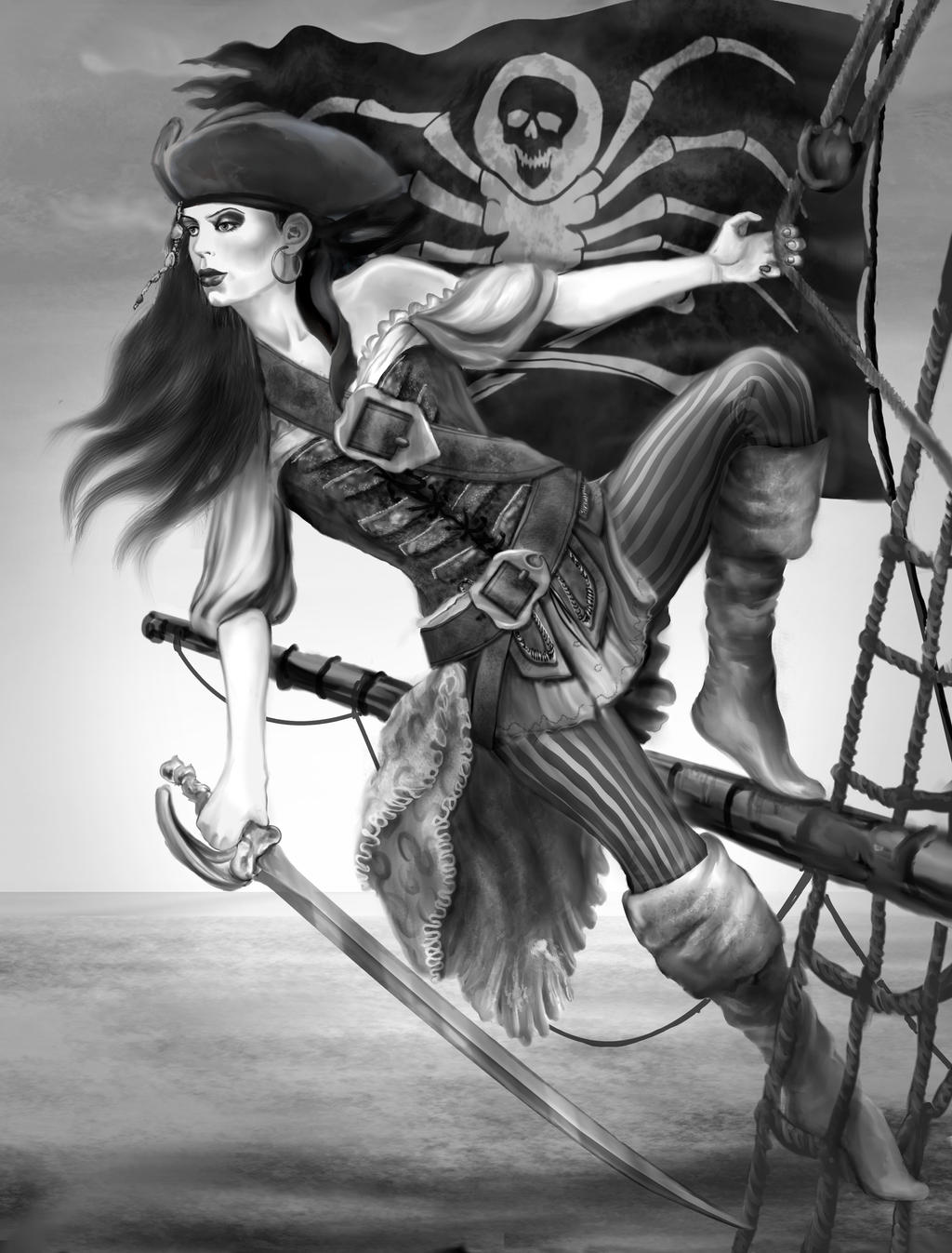 Pirate girl drawing