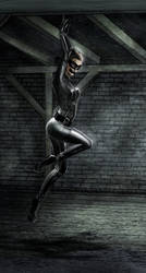Catwoman struggeling in a basement by Ghosthornet