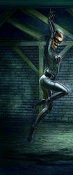 Catwoman struggeling in basement - intense colour by Ghosthornet