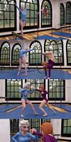 Elsa and Anna gymnastics and combat training