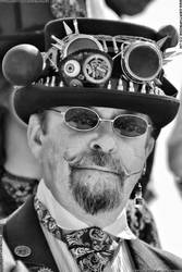Steampunk man on Hastings Pier by deathproneimages
