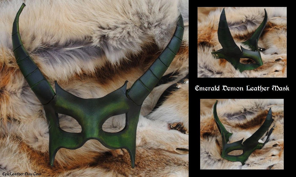 Emerald Demon Leather Mask by Epic-Leather