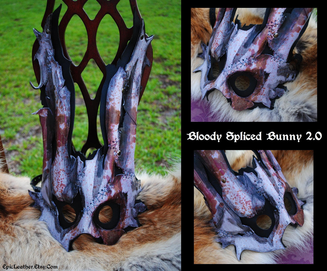 Bloody Spliced Bunny Mask 2.0 by Epic-Leather