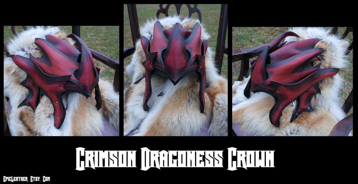 Commission: Crimson Dragoness Crown by Epic-Leather