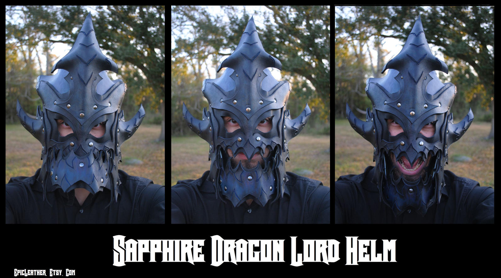 Leather Sapphire Dragon Helm: Jaw Action by Epic-Leather