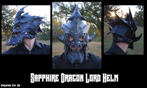 Commission: Leather Sapphire Dragon Helm by Epic-Leather