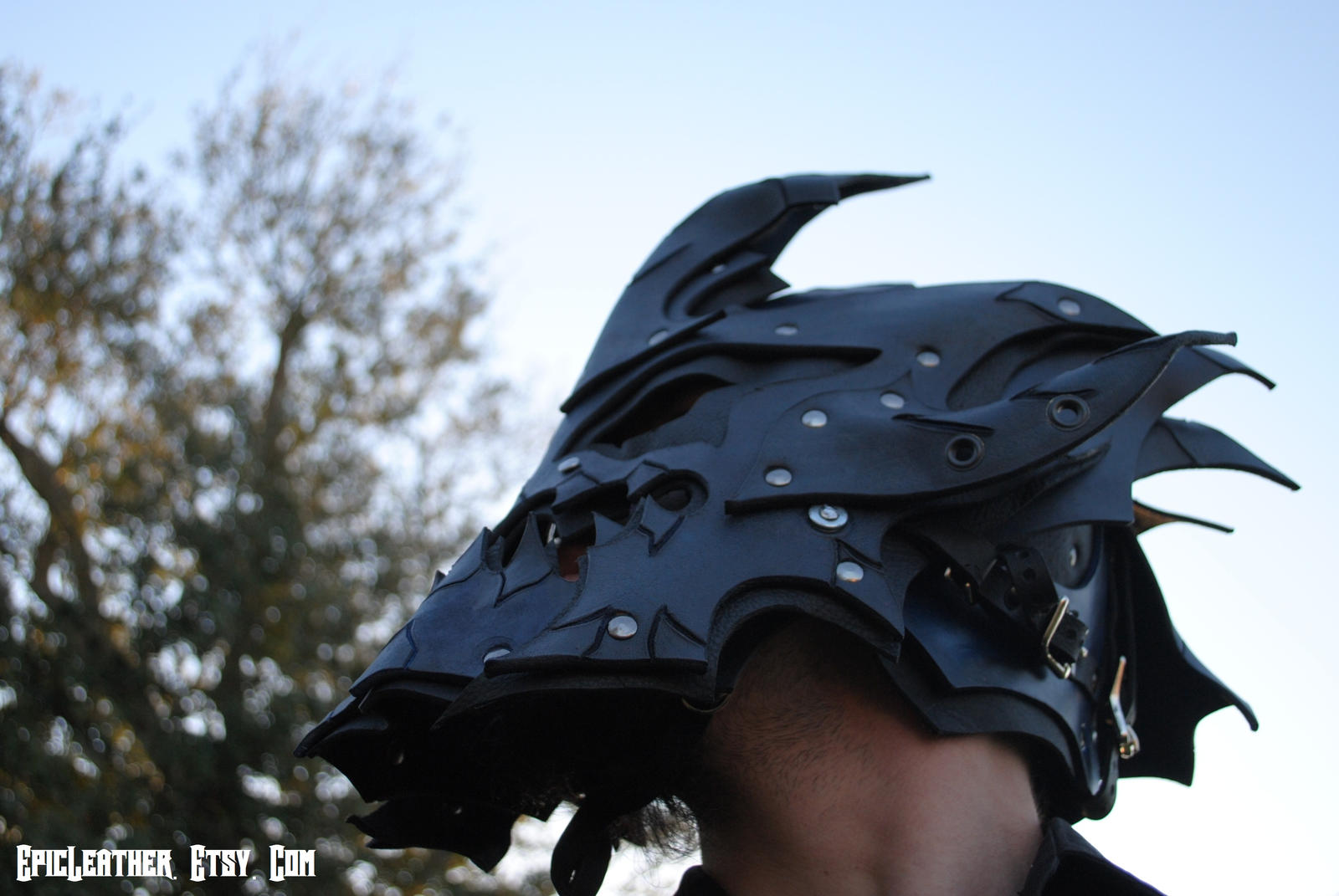 Sapphire Dragon Lord Helm by Epic-Leather