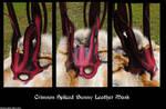 Crimson Spliced Bunny Leather Mask