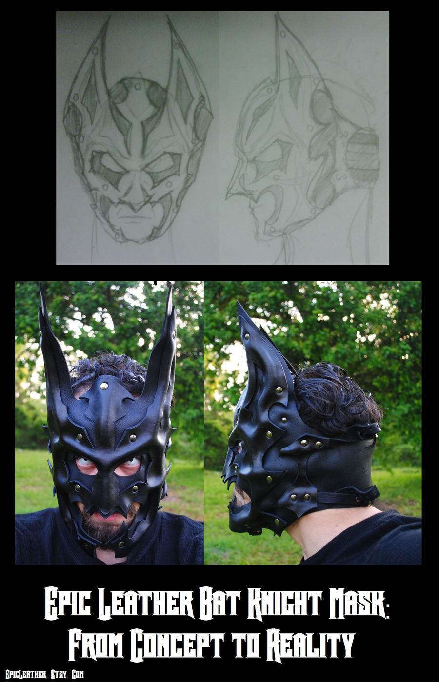 Concept to Reality: Leather Bat Knight Mask by Epic-Leather