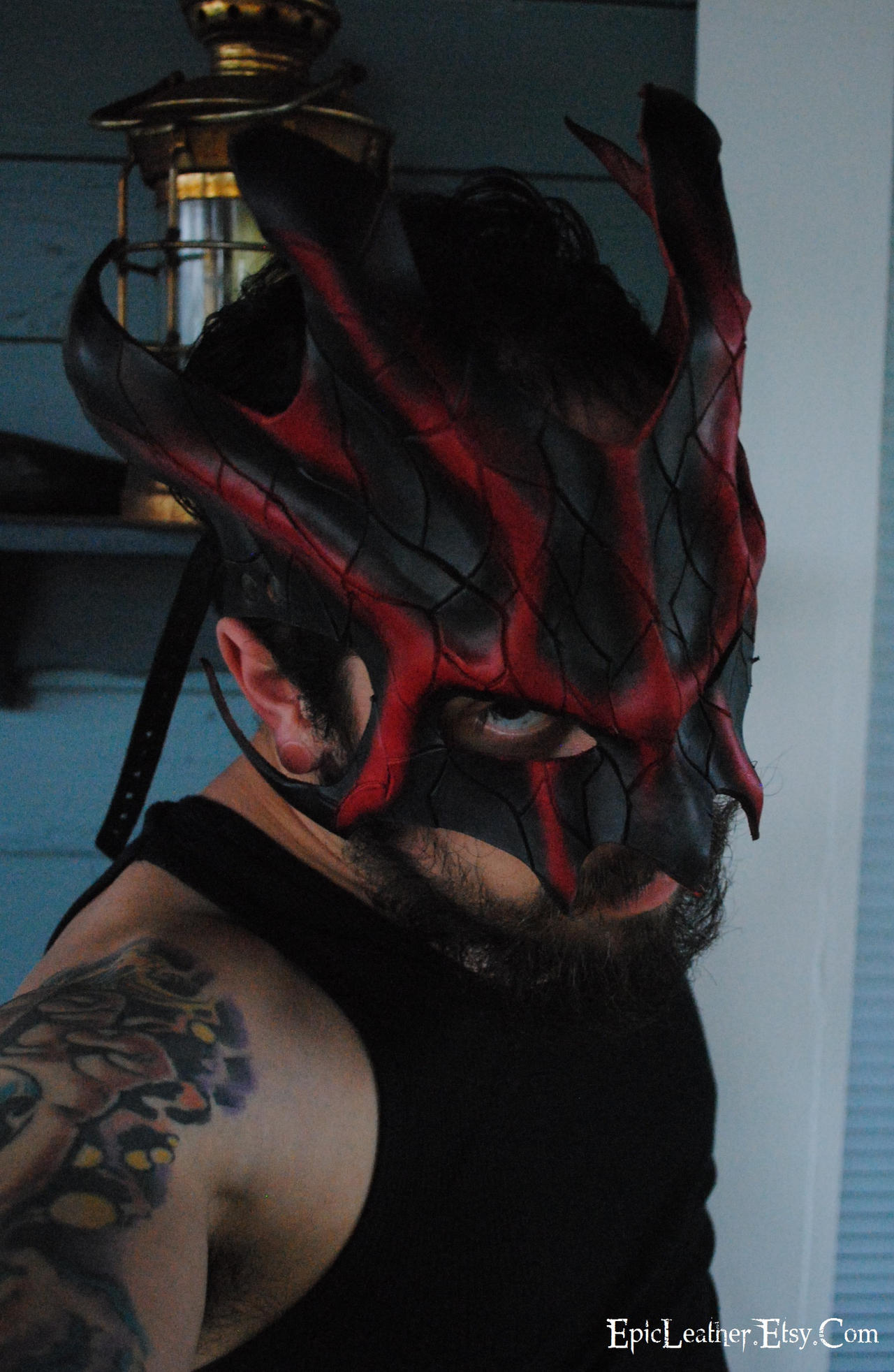 Cracked Ruby Great Dragon Leather Mask by Epic-Leather