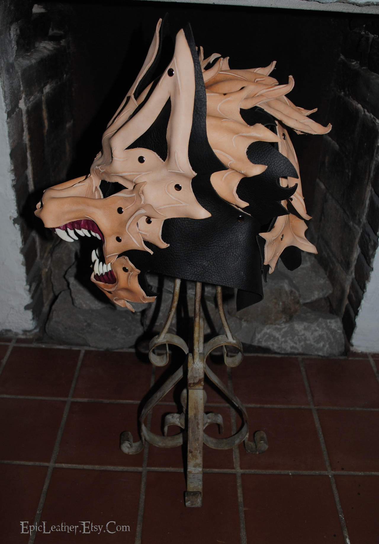 WIP Leather and Bone Wolf Helm: Profile by Epic-Leather