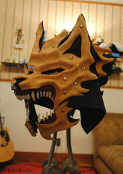 WIP Leather and Bone Wolf Helm Commission by Epic-Leather