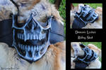 Leather Demonic Skull Motorcycle Riding Mask
