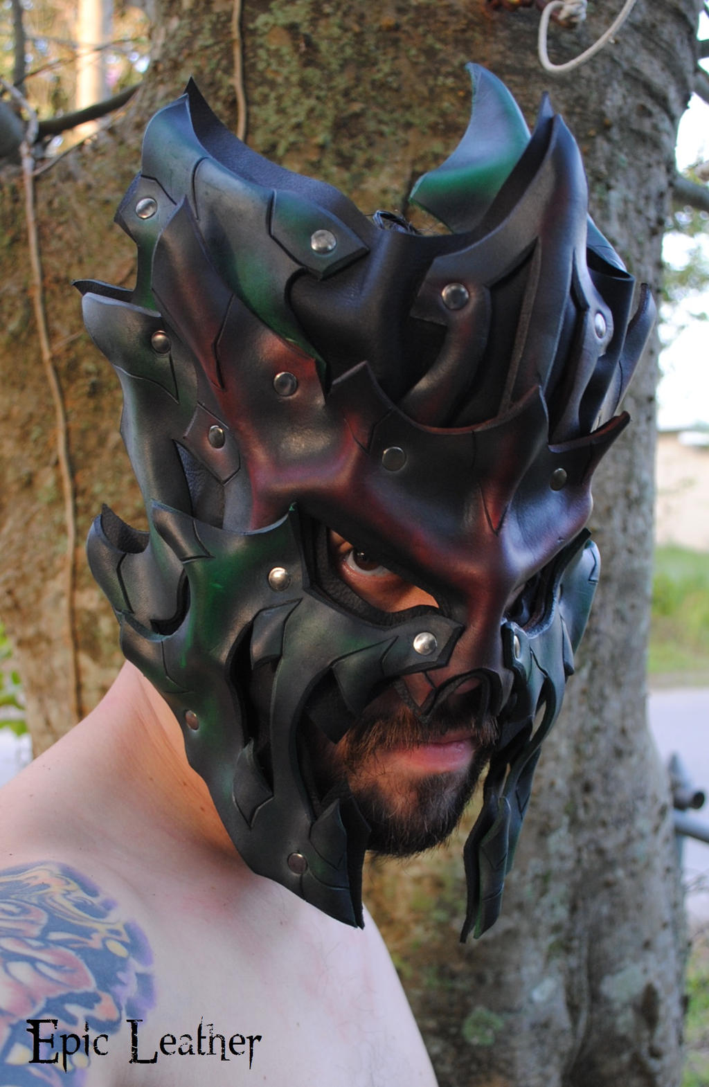 Leather Swamp Lord Upper Mask by Epic-Leather