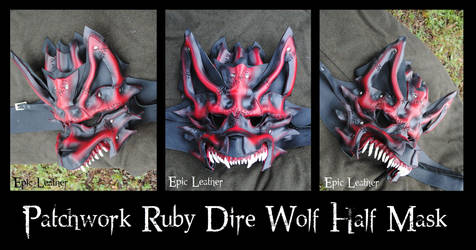 Leather Patchwork Ruby Dire Wolf Half Mask