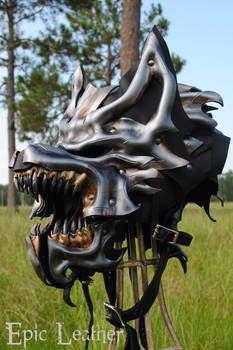 Leather Steel Dire Wolf Helm