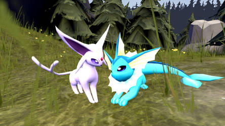 Espeon and Vaporeon - Summer Love by LucyTheDark