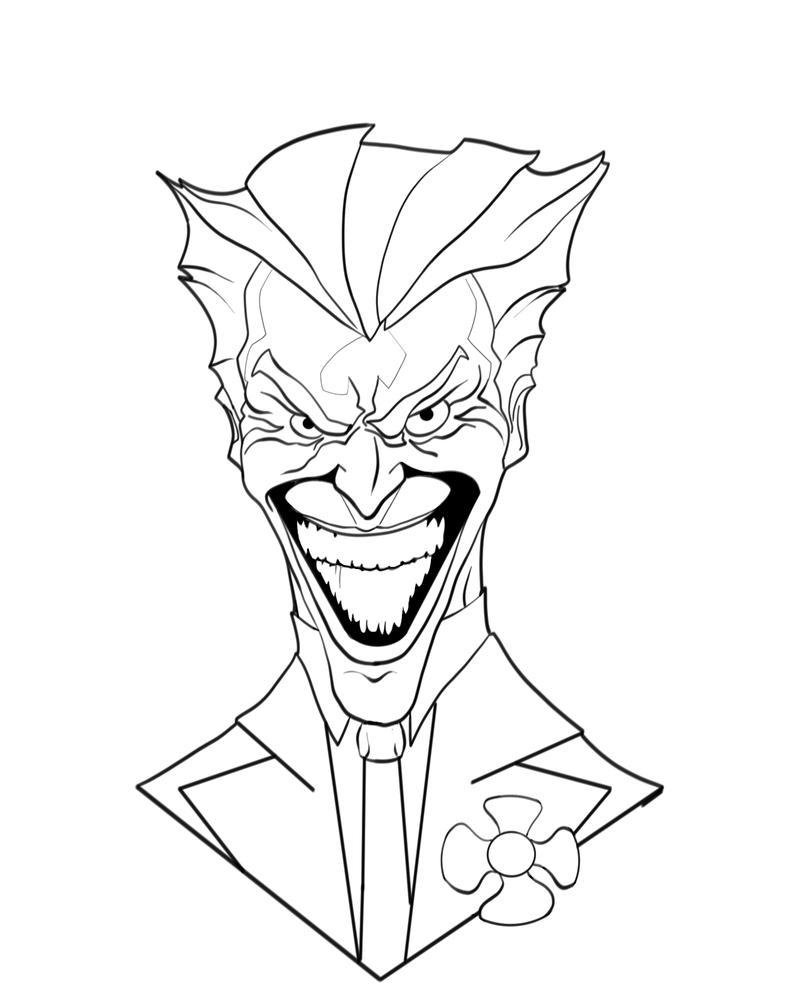 The Joker Line Art : Joker cartoon drawings easy sketch coloring page