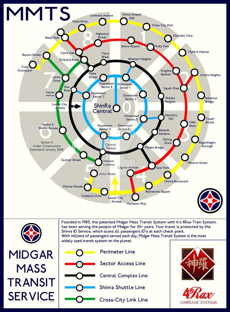 Final Fantasy VII - Midgar Mass Transit System Map by ReverendRyu
