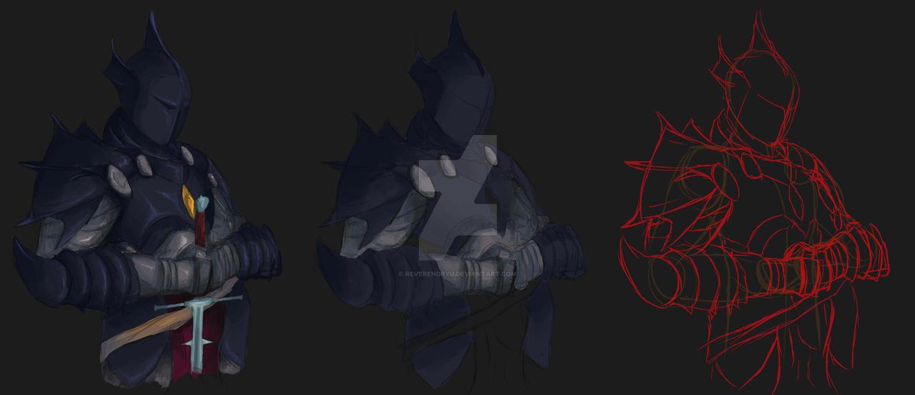 Sketch - Dragoon Knight Progress by ReverendRyu