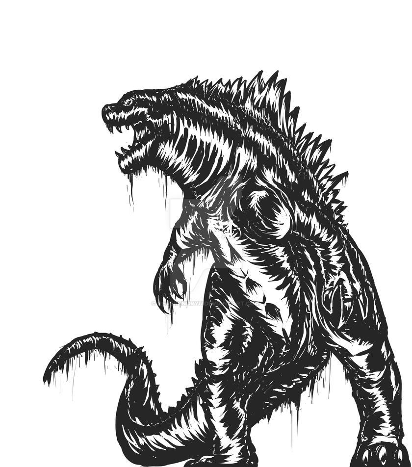 Godzilla - Woodcut style by ReverendRyu