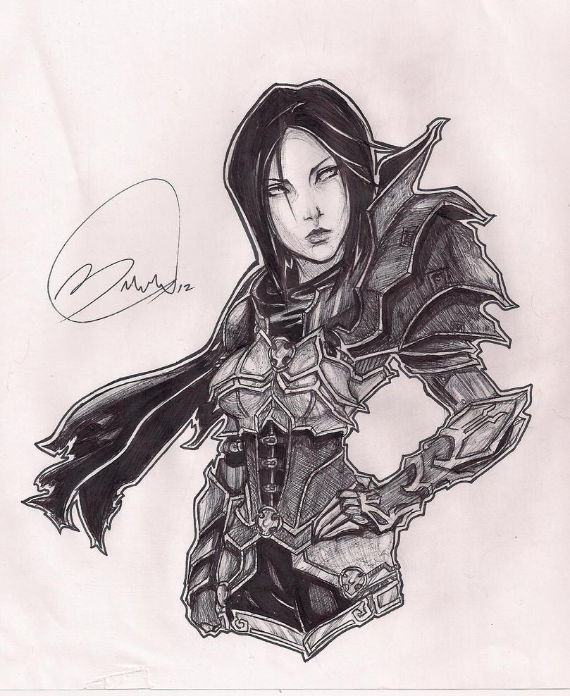 Ink pen Demon Huntress by Black-Strawbarrie
