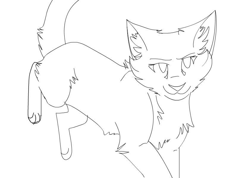 Line Art Kitten : Warrior cat lineart by pawprintemblem on deviantart