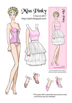 Miss Pinky paper doll
