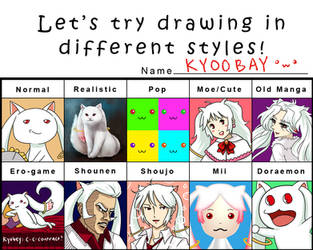 Let's Try Drawing Kyubey in Different Styles by shihfu