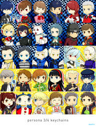 Persona 3+4 Keychain Chibis by shihfu