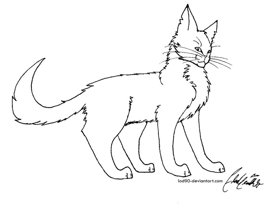 Forest cat Line art by LoD90
