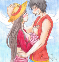 PC - Luffy and Boa - Blushes and Hats by BloodyRiley