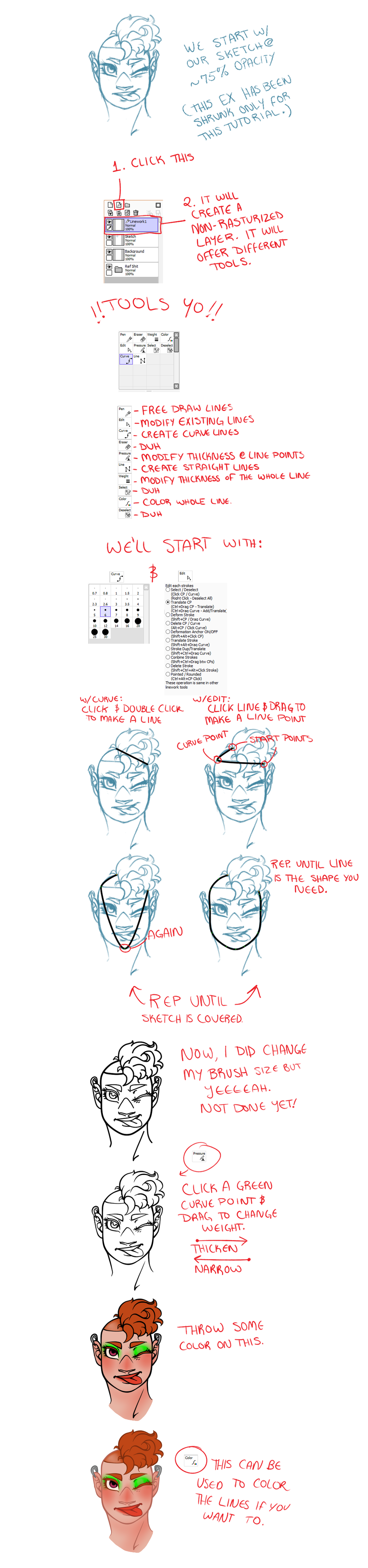 Line Art Layer : Paint tool sai lineart layer tutorial full size by lily