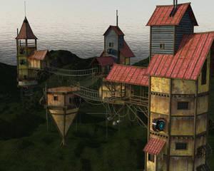 Vilna Skyene A Village in Akasa Gahari by IceDragonArt