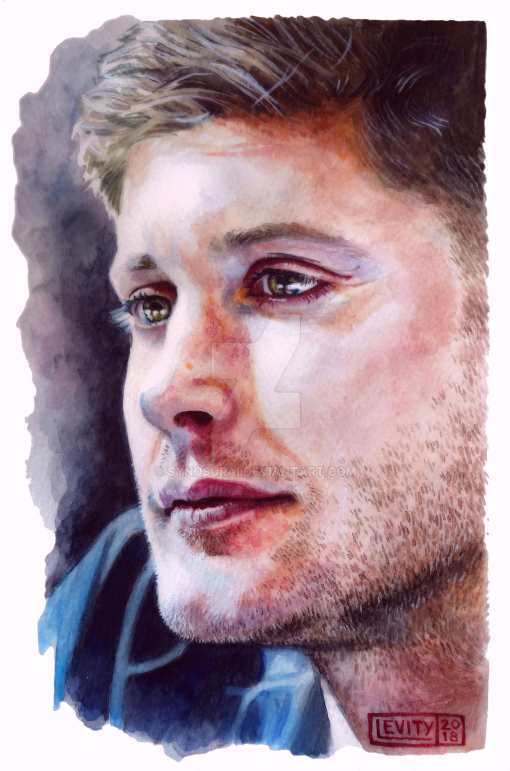 Jensen Ackles watercolor - white background