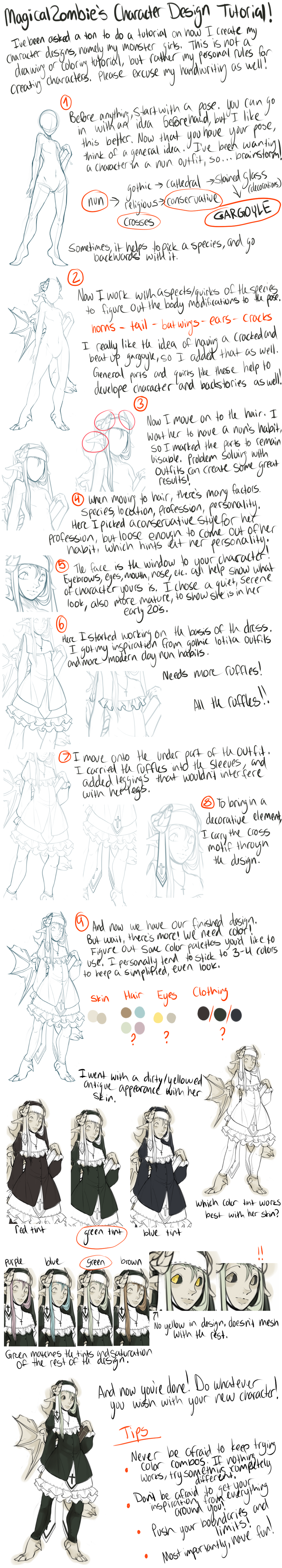 Character Design Tutorials : Character design tutorial by magicalzombie on deviantart