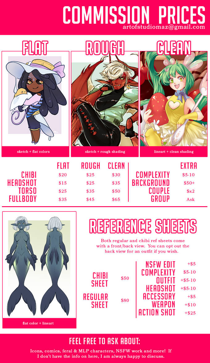 2019 Commission Prices by StudioMaz